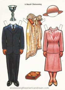 illustration paper doll Prince Charles Princess Diana Christening