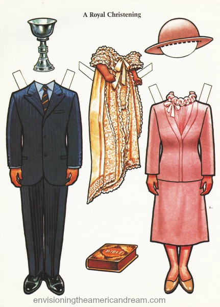paper doll illustration Prince Charles Princess William