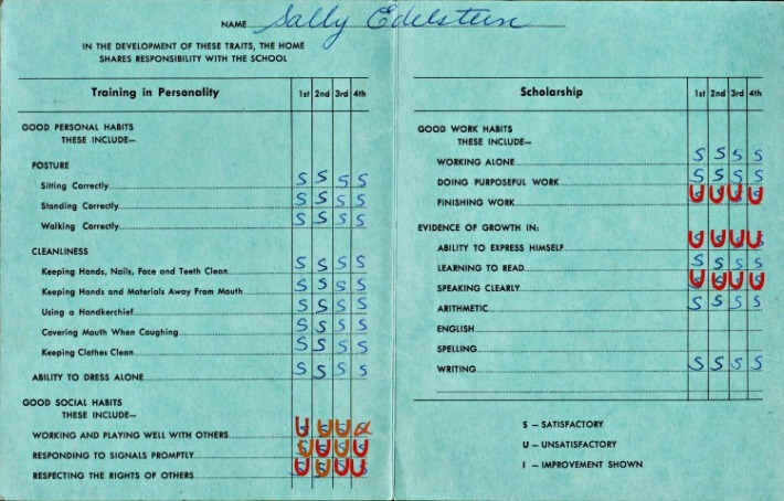 vintage school report card