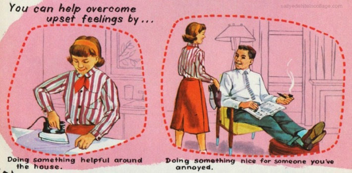Vintage schoolbook  Illustration girls and family