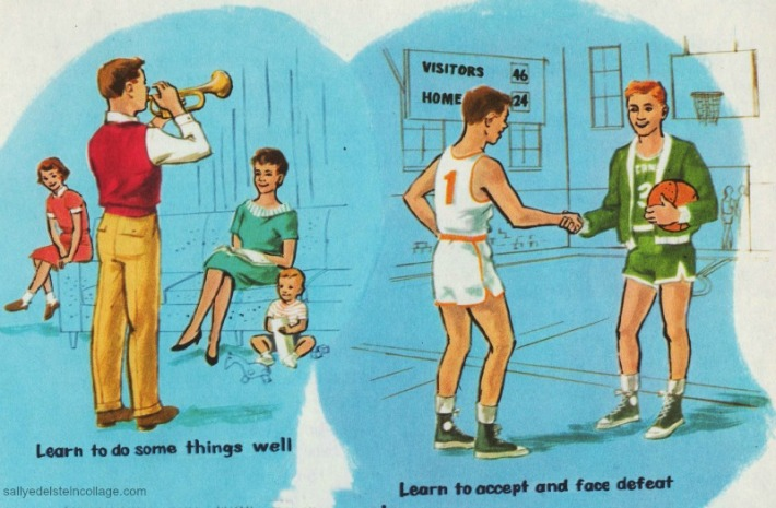 Vintage schoolbook  Illustration boys &girls