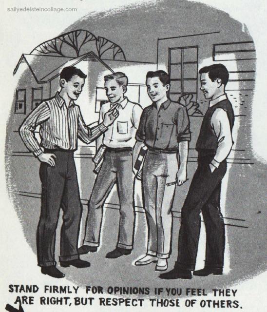 Vintage schoolbook  Illustration boys