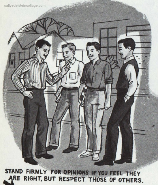 Vintage schoolbook Illustration boys