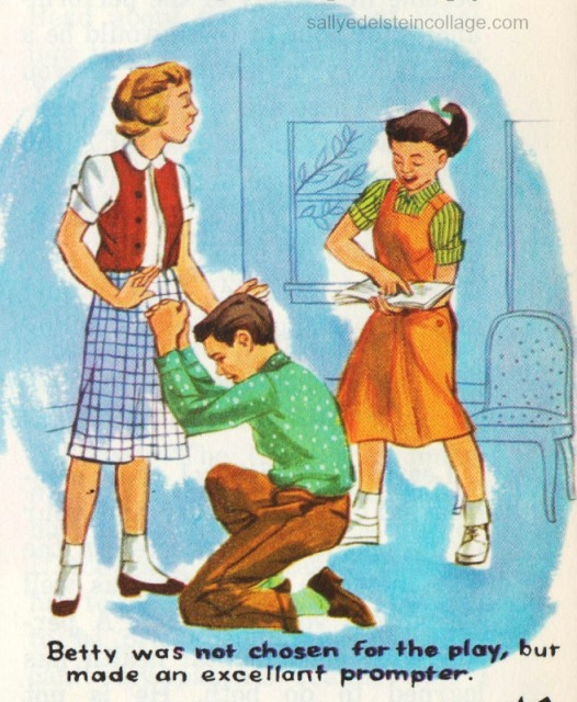Vintage schoolbook Illustration boys &girls