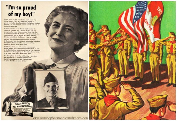 Vintage army recruitment ad, illustration boy scouts and flag