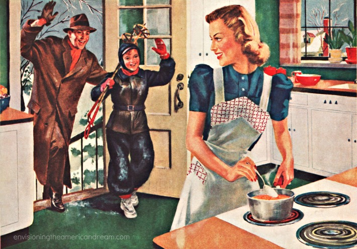 vintage illustration happy family in kitchen mom ccoking soup