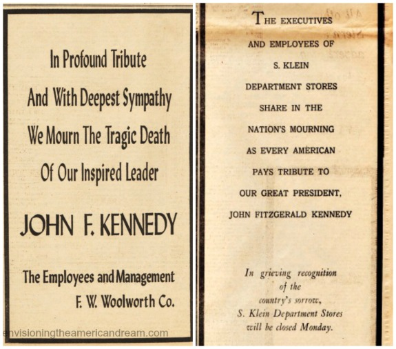 vintage ads kennedy memorial woolworths Kleins