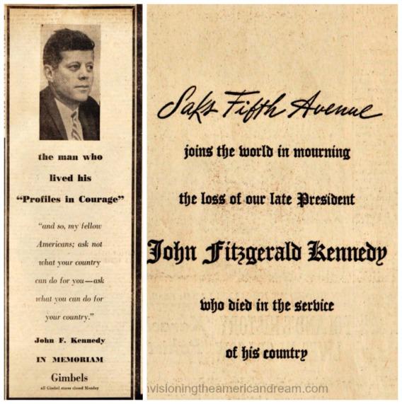 vintage Kennedy Memorials ads Gimbels Saks