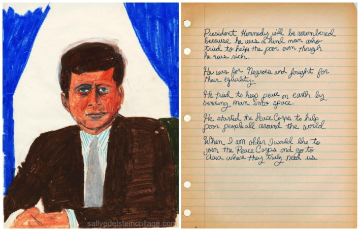 childs drawing of John Kennedy