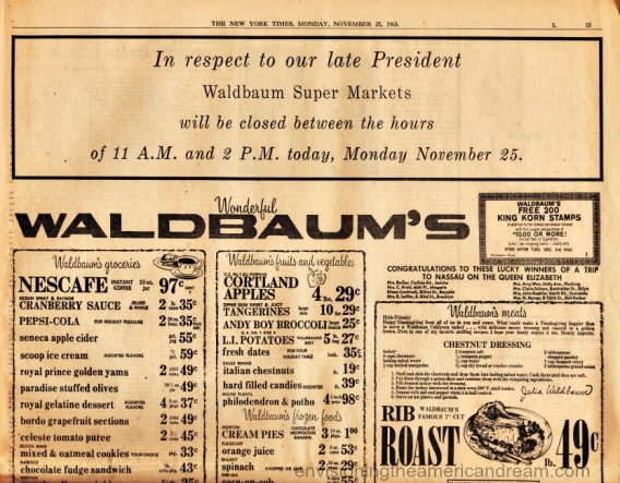 Kennedy Times memorial waldbaums ad