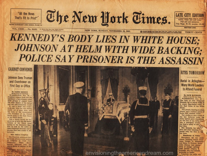 "Headline of ""NY Times"" Sunday November 24, 1963"