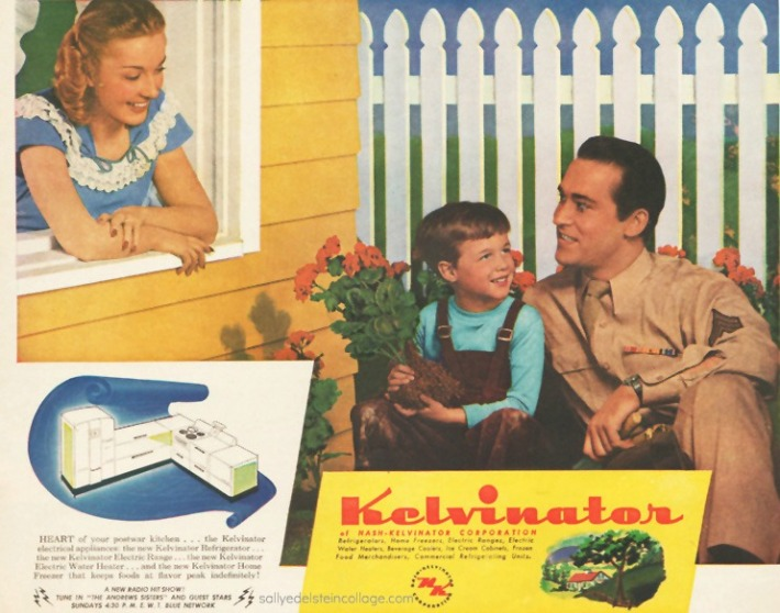 Vintage Ad 1945 Kelvinator WWII Soldier and family picket fence