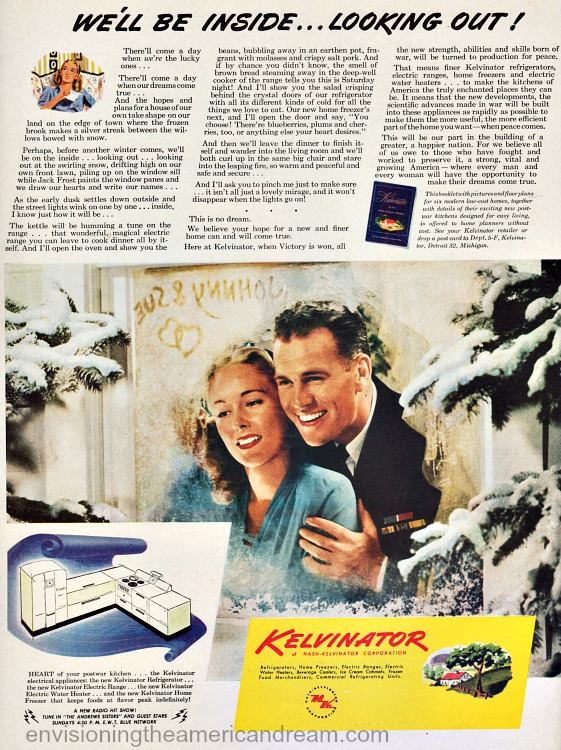 Vintage WWII Ad Kelvinator 1945 soldier and wife in new house