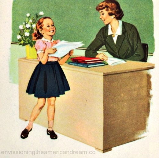 vintage schoolbok illustration little girl and teacher