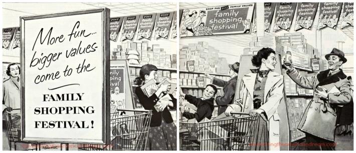 illustration family shopping 1950s