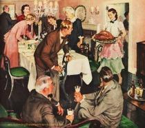 vintage illustration family Thanksgiving