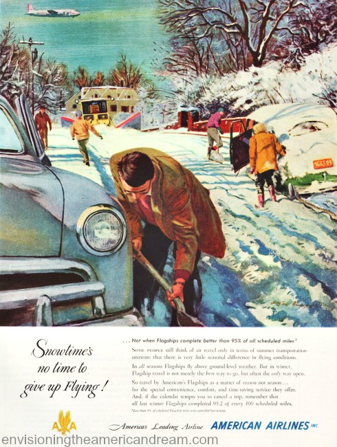 vintage illustration people shoveling out snow from cars