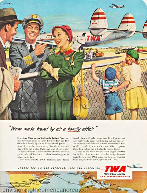 vintage ad airline TWA 1949