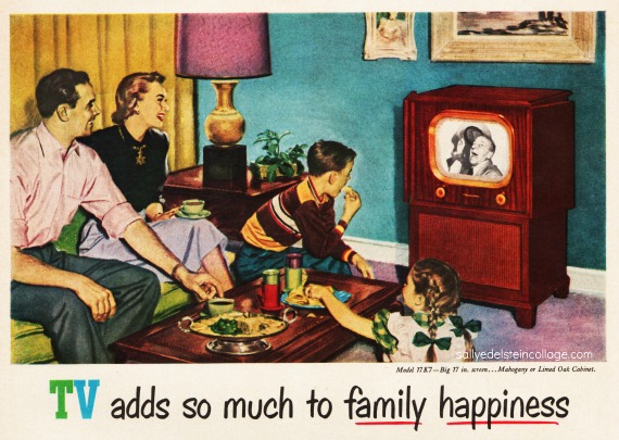 Vintage Illustration happy family watching TV