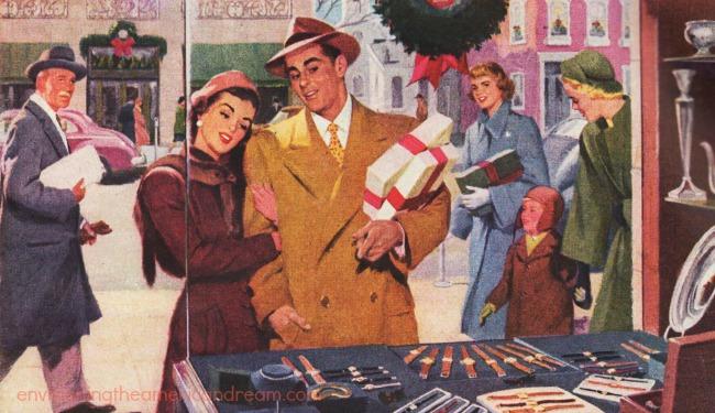 vintage illustration xmas shopping