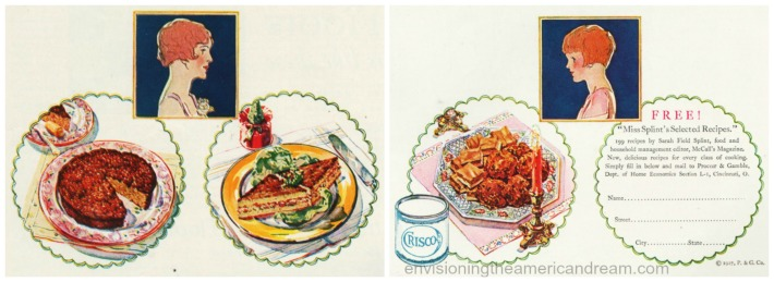 vintage illustration housewife Xmas food 1920s