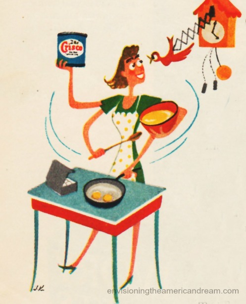 Vintage illustration housewife cooking Crisco