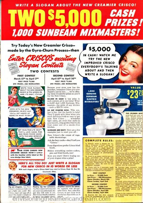 Vintage ad Crisco Contest 1939