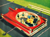 vintage illustation future cars