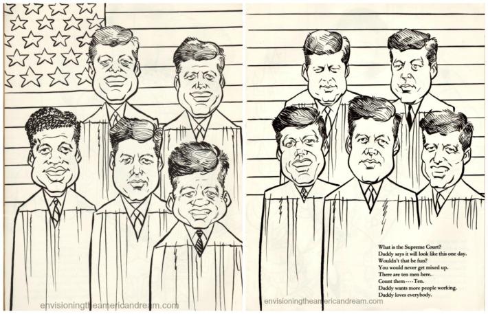 vintage cartoon of JFK