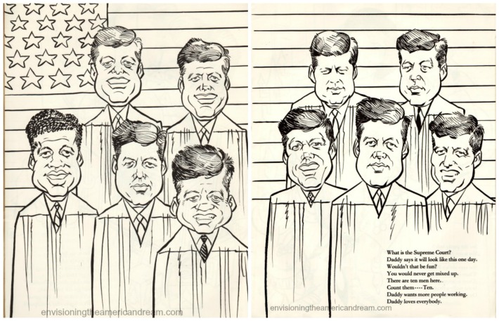 vintage cartoon of JFK