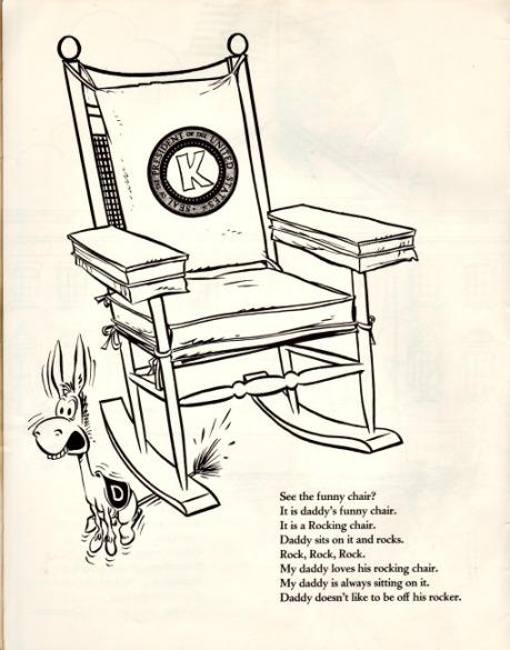 vintage cartoon JFK Rocking Chair