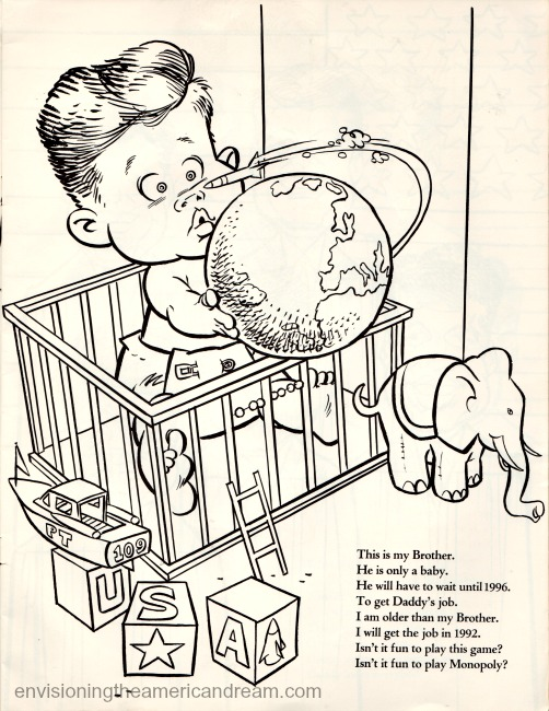 Vintage Cartoon John Kennedy Jr Coloring Book