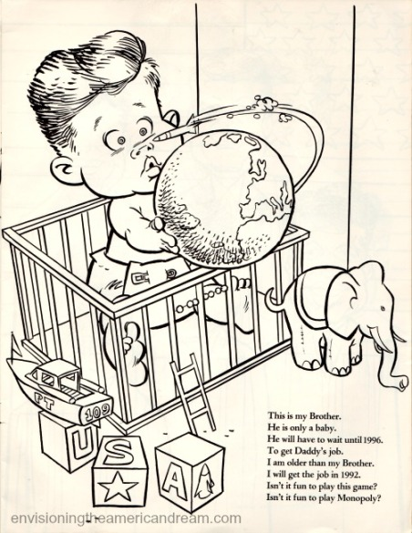 Vintage cartoon John Kennedy Jr