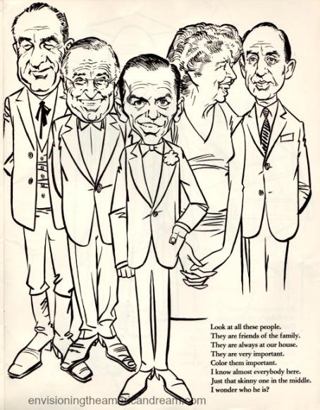 Vintage cartoon political figures 1962