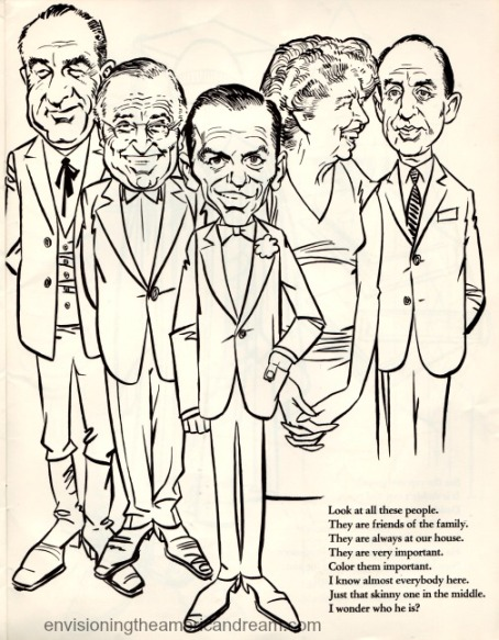 Vintage cartoon political figures 1962
