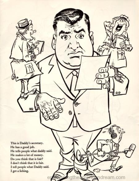 Vintage cartoon Pierre Salinger