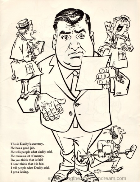 Vintage cartoon Pierre Salinger