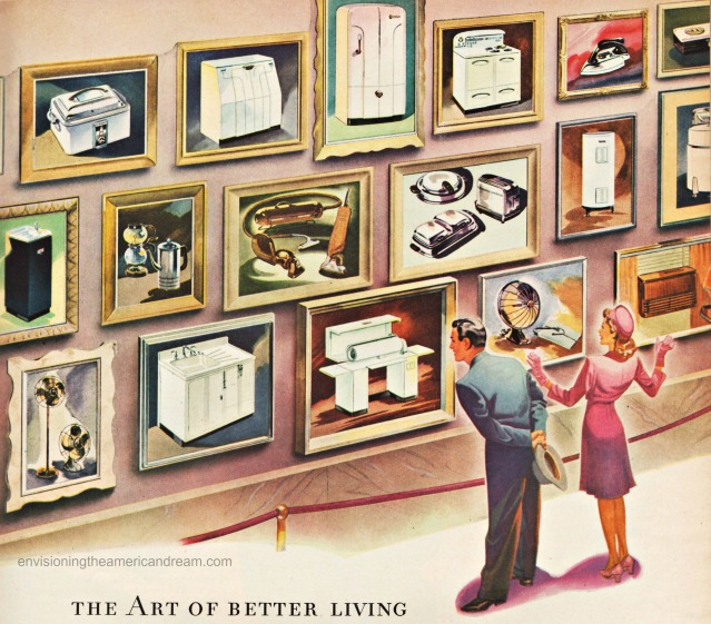 Vintage illustration of post war consumer goods