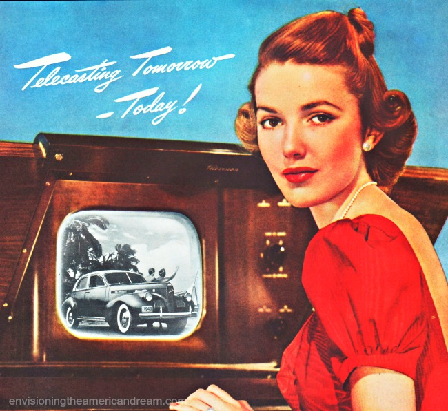 vintage television 1940 woman and TV set