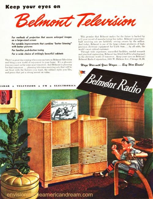 vintage ad TV illustration boy watching TV