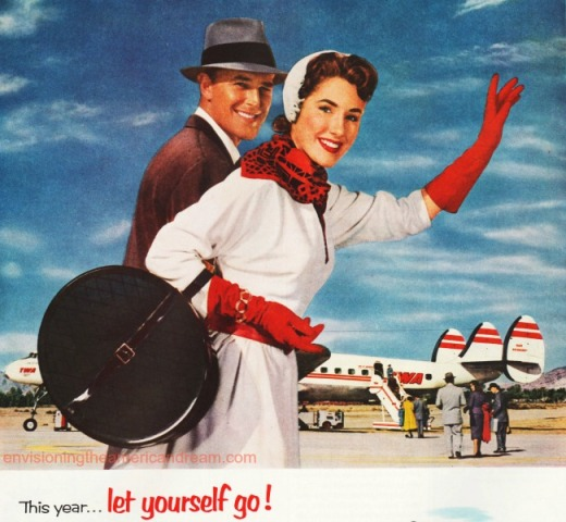 vintage illustration couple traveling airplane 1950s