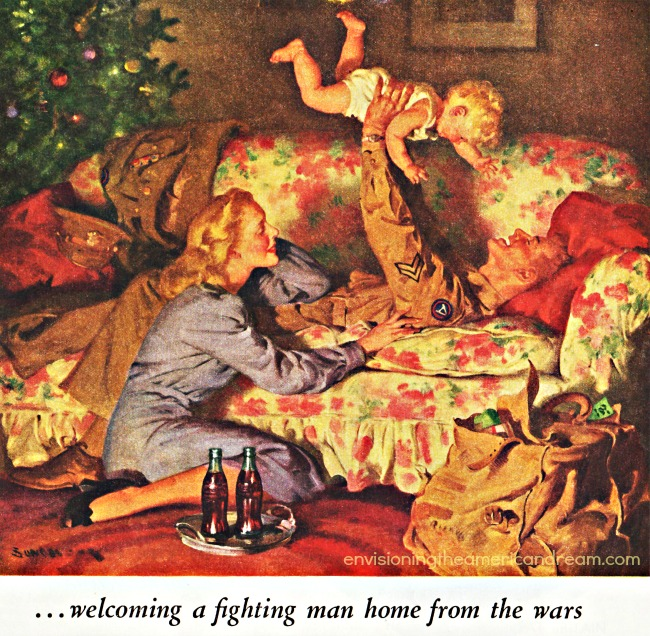 vintage illustration family at Christmas soldier coming home