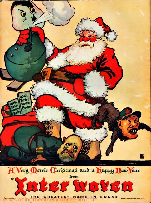 WWII Xmas ad illustration Santa Hitler, Mussollini, Tojo