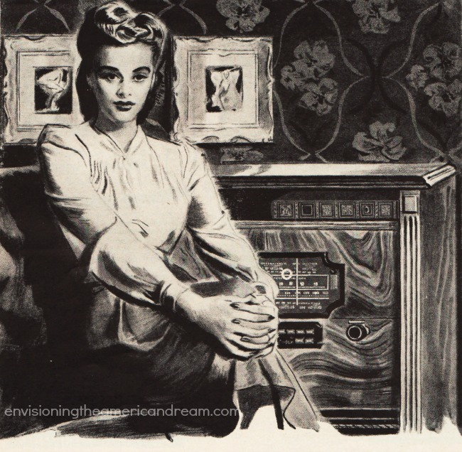 vintage illustration woman radio 1940s