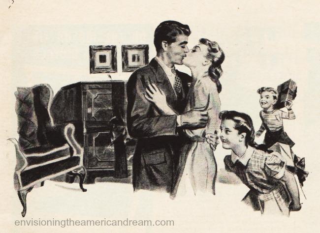 illustration 1940s family Xmas