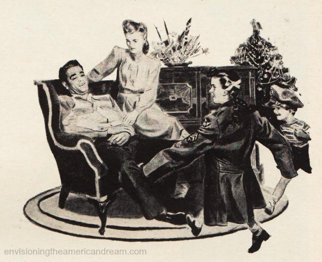 vintage illustration Xmas family 1940s