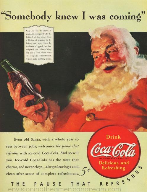 xmas coke ad Santa Claus illustration 1940