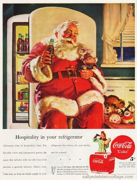 "ORIGINAL Vintage Coca Cola 1957 Christmas  Ad /""SANTA/'S FIREPLACE LIST FOR BOBBY"