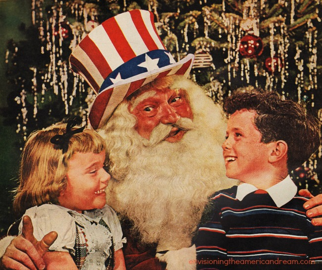 xmas santa clause with Uncle Sam hat on