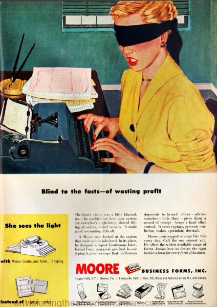 vintage illustration secretary blindfolded